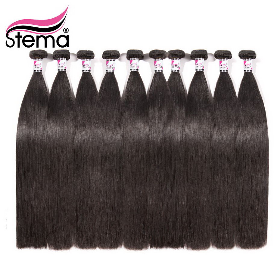 Stema Brazilian Hair Weave Straight 10Pcs/lot 100% Human Hair Bundles Remy Hair Extension Natural color Free Shipping
