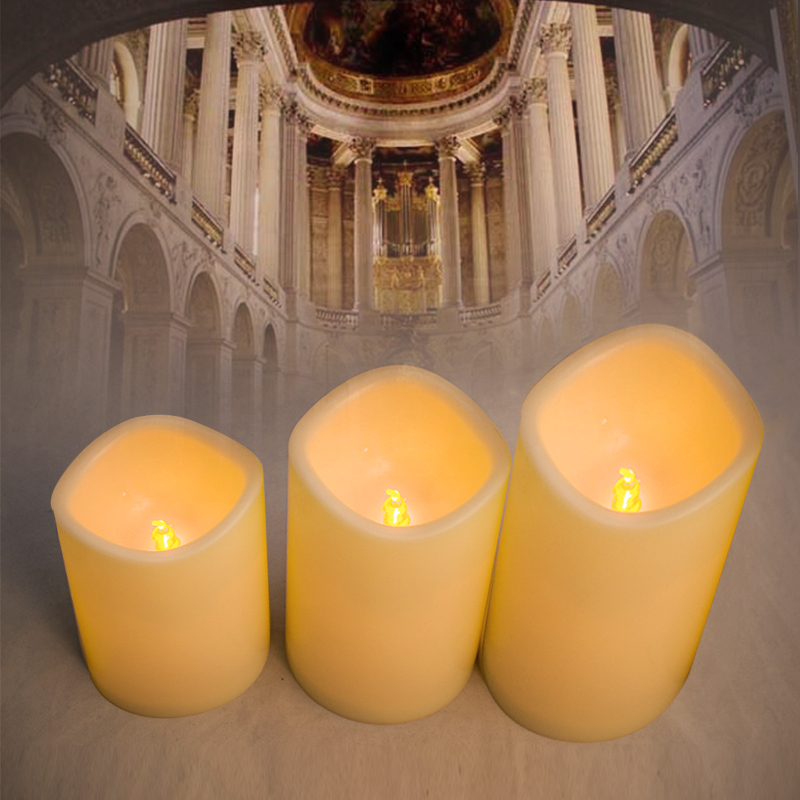 Hot Sale Set of 3 Melted Edge Flameless Ivory Wax Pillar Candles with Remote Control Timer dfl 3x6 inch flameless real wax pillar electronic led candle with timer with embossed gold pearl