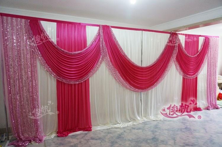 Ледяной шелк белый свадебный фон с фиолетовые пайетки Swag пользовательский цвет роскошный свадебный фон для свадебной вечеринки декор - Цвет: Розовый