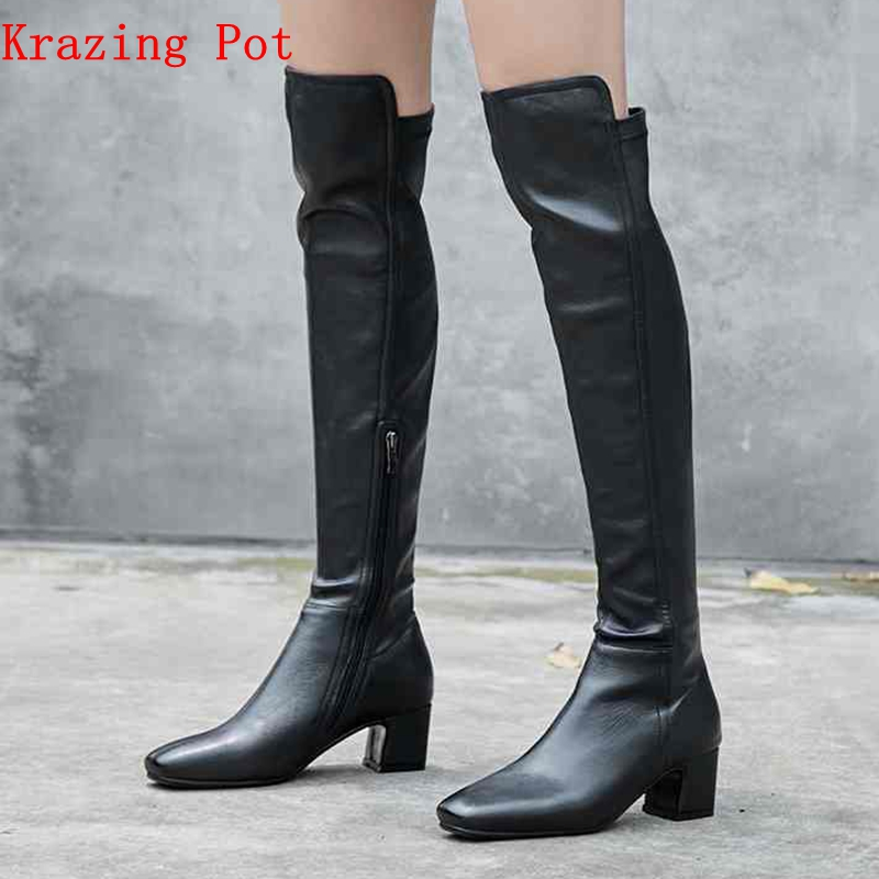 Krazing pot cow leather velvet flock stretch over-the-knee thick heels superstar winter zipper keep warm thigh high boots L1f4Krazing pot cow leather velvet flock stretch over-the-knee thick heels superstar winter zipper keep warm thigh high boots L1f4