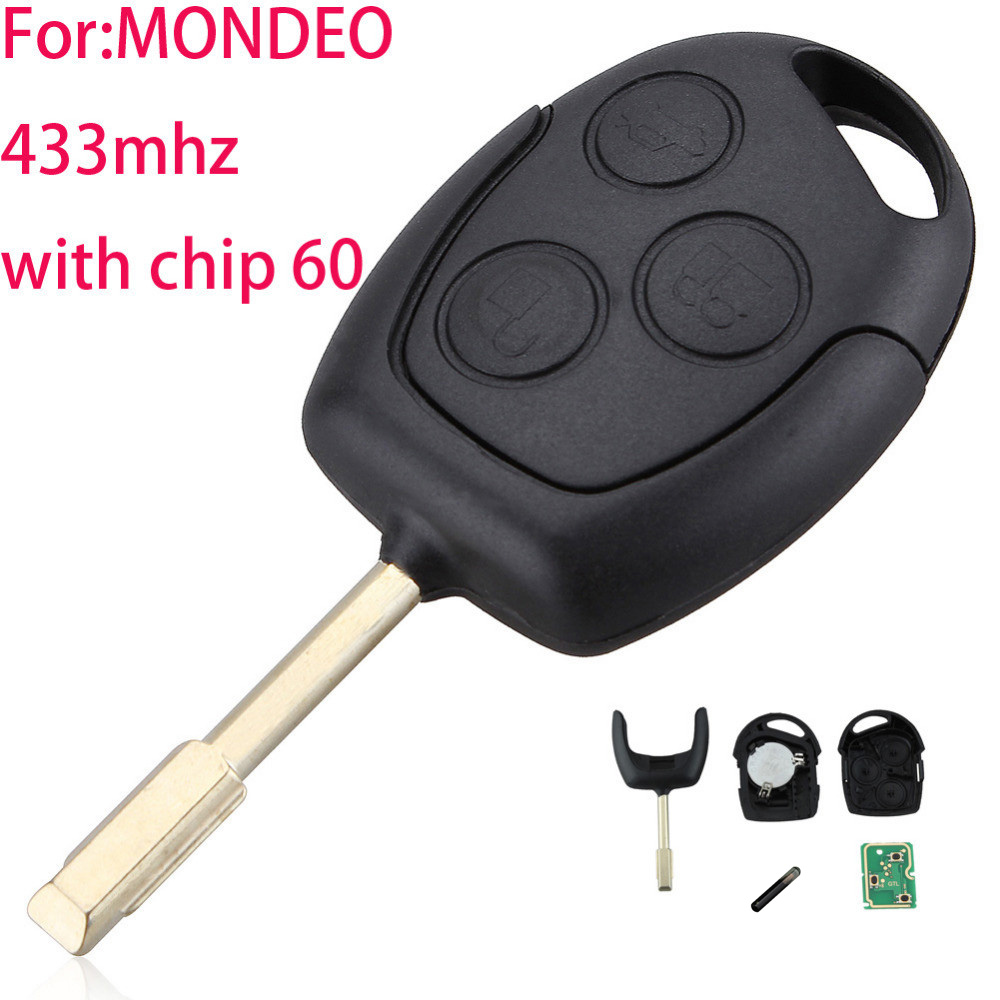 LARATH 3 Buttons Remote Entry Key 433/315 MHZ Fob For Ford Mondeo Fiesta Focus Ka Transit K2 with 60 Glass chip