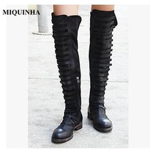 MIQUINHA New Faux Suede Frayed Motorcycle Boots Woman Knee High Flat shoes Cage Laces Round Toe Zip boots Olive Plus Size