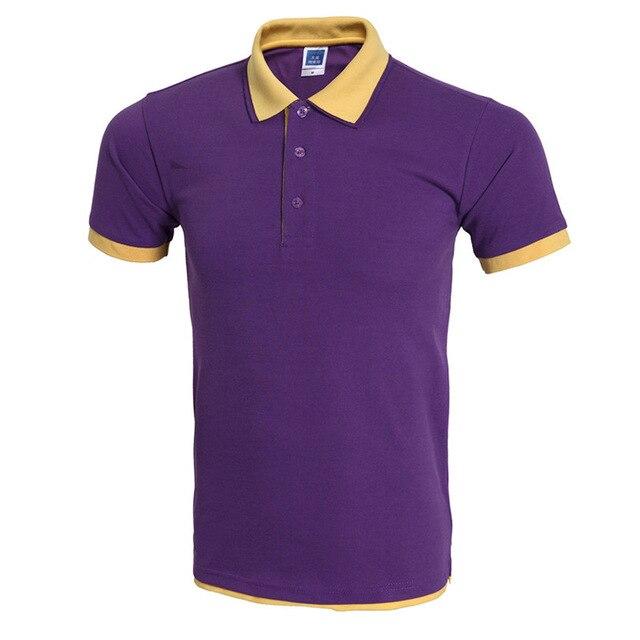 Clásica Camisa Polo Hombre Polo Homme Para Hombre Marca de Moda Púrpura Amarillo Falso 2 Unidades Polos Verano Estilo Polos 3Xl