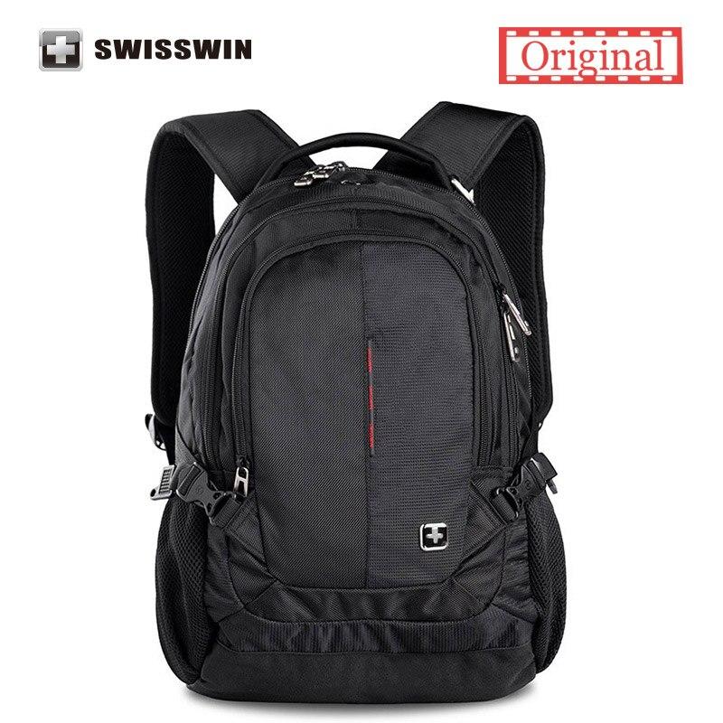 Swisswin Brand Backpack Male Swissgear Wenger Waterproof Laptop Backpack Women Satchel Bag Multi-Pocket Music Bagpack Mochilas swisswin black business backpack sw9218 male swiss 15 6 computer swissgear wenger bag 23l mochila