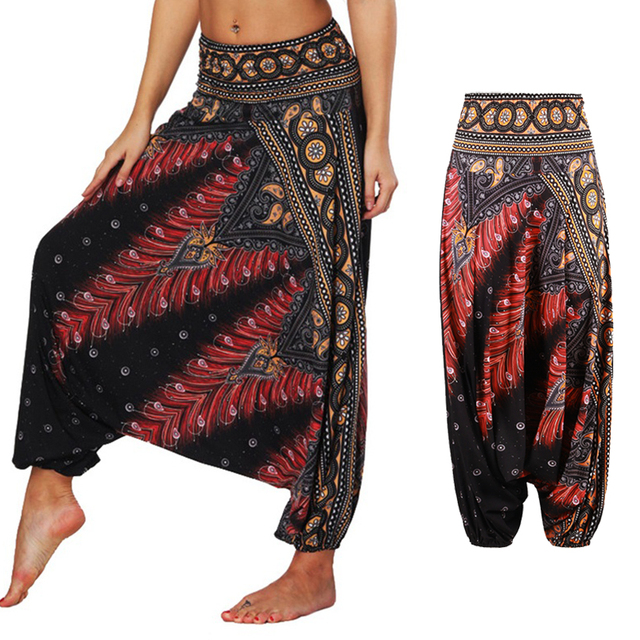 5c901be172 Ladies Comfy Yoga leggings Baggy Gypsy Sexy Women Harem Pants wide leg  Indian Winter Loose Yoga legins Mandala Art dancing pant