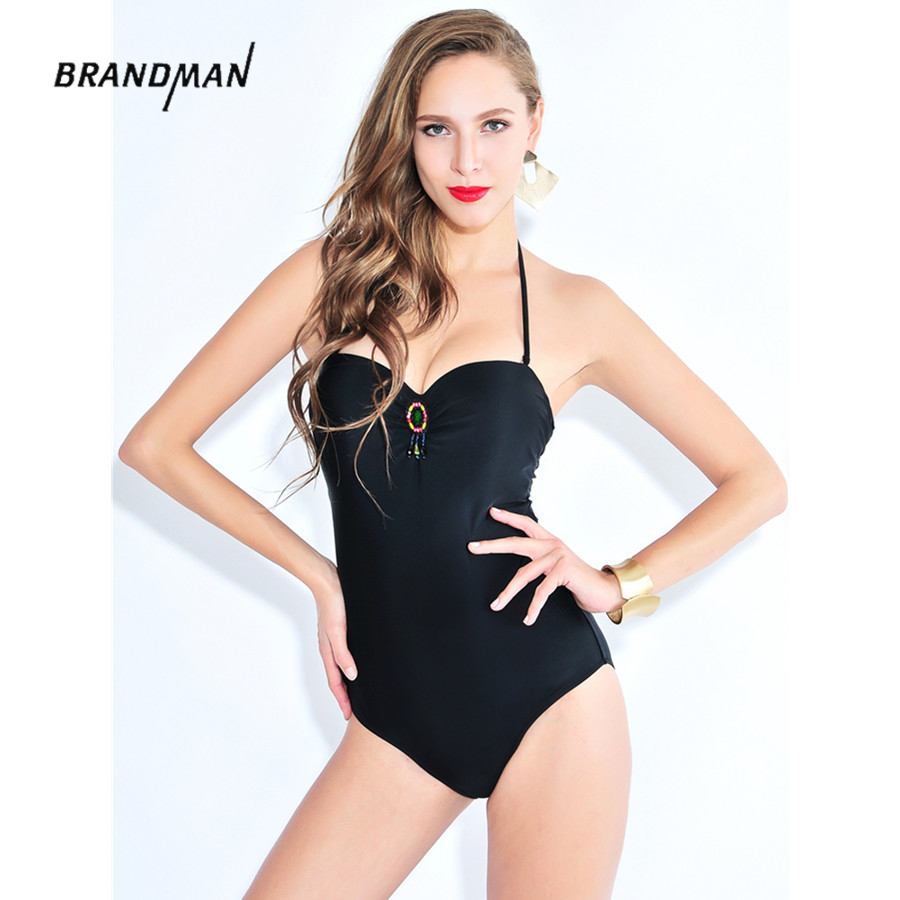 Plus Size Sexy Straps One Piece Swimsuit Vintage Black Solid push up Bathing Suit Hollow European Style high waist swimwear 6606 sexy plunging neck push up plus size solid color bathing suit for women