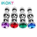 IKOKY Big Size Anal Beads Adult Product Jewel Anal Plug Erotic Sex Toys for Women and Men Stainless Steel Butt Plug