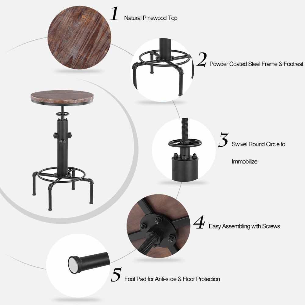 IKayaa pinewwood Топ круглый бар стол регулируемый по высоте вращающийся счетчик бистро стол промышленные трубы стиль обеденный кухонный стол