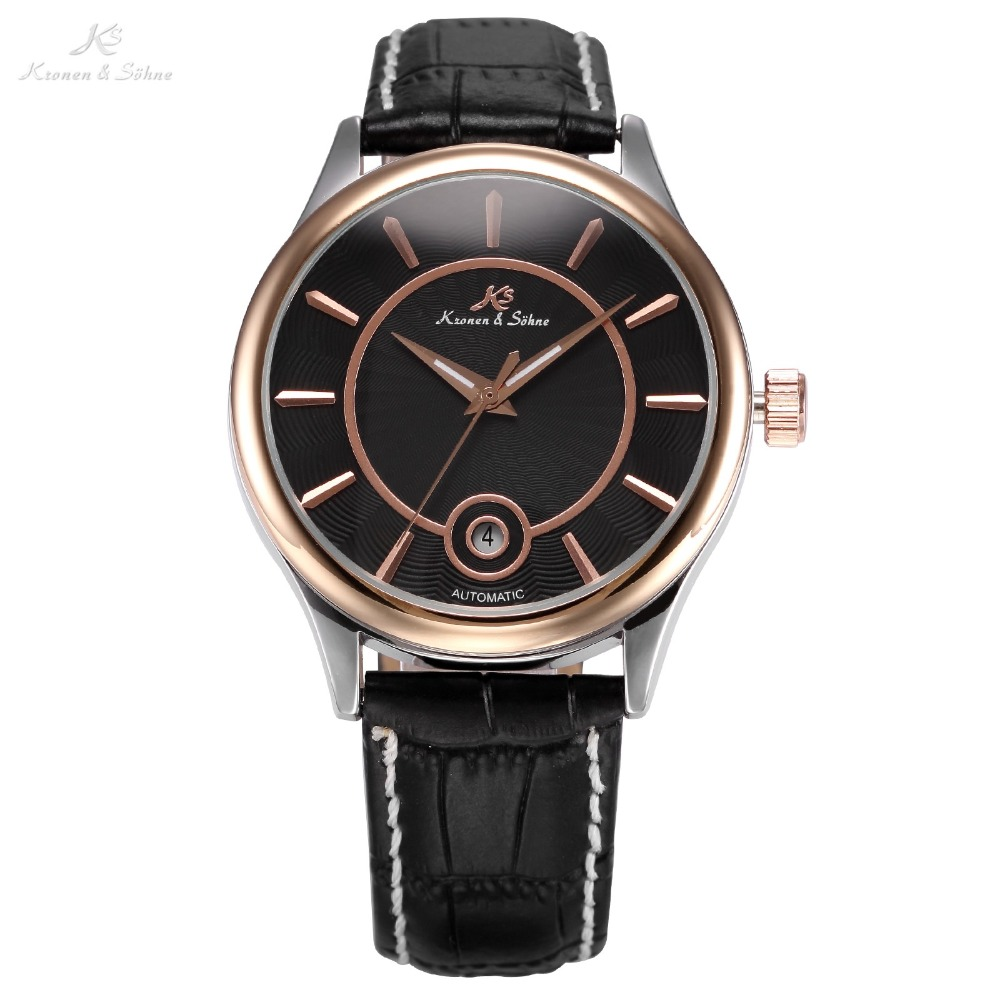 KS Mens Black Rose Gold Stainless Steel Clock Calendar Display Leather Band Self Wind Automatic Mechanical Casual Watch / KS264 royal carving ks rose gold skeleton automatic self wind wristwatch male fashion clock leather strap mechanical watch gift ks294