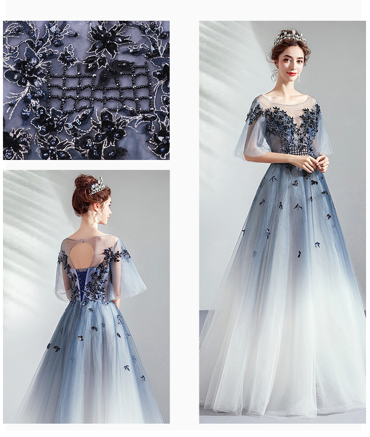 Prom Dress Half Sleeves Lace Appliques Beading Navy Blue White Gradient Evening Bridesmaids Gowns