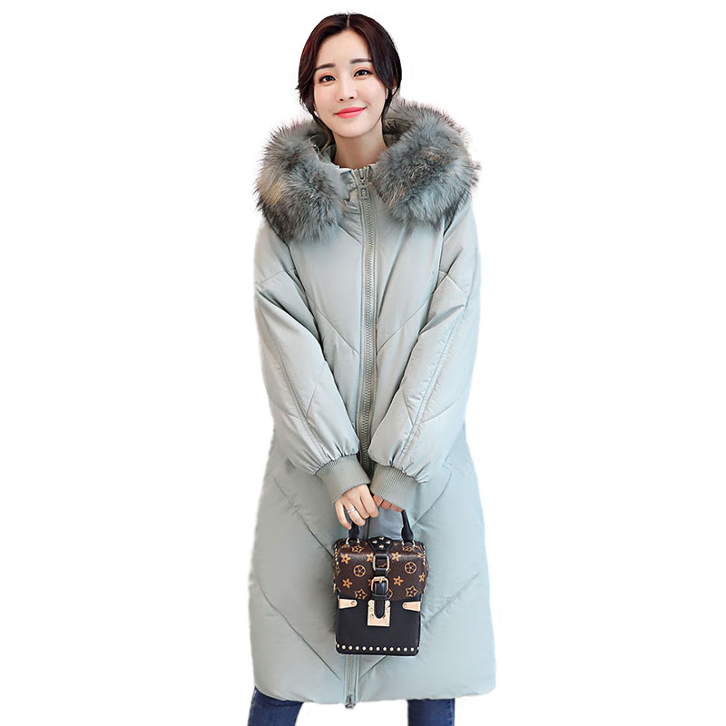 Korean Style Parka Long Slim Hooded Faux Fur Collar Women Quilted Jacket Thicken Warm Winter Down Cotton Padded Coat Jackets quilted jacket male mid long parka new winter thicken warm hooded fur collar cotton padded coat men s snow jackets windproof