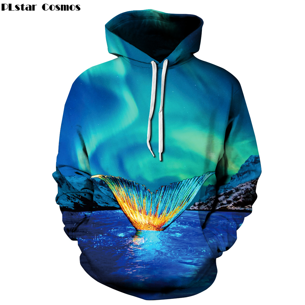 PLstar Cosmos 2017 Autumn New 3d Hoodies blue Starry sky Animal shark Print 3D Men Women Thin Hipster hooded Sweatshirt B5252