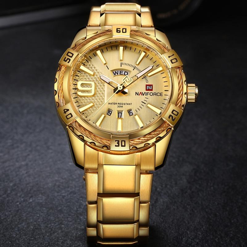 NAVIFORCE Luxury Brand Mens Sport Watch Gold Full Steel Quartz Watches Men Date Waterproof Military Clock Man relogio masculino 1