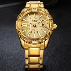 Image 2 - NAVIFORCE יוקרה מותג Mens ספורט שעון זהב מלא פלדת קוורץ שעונים גברים תאריך עמיד למים צבאי שעון איש relogio masculino