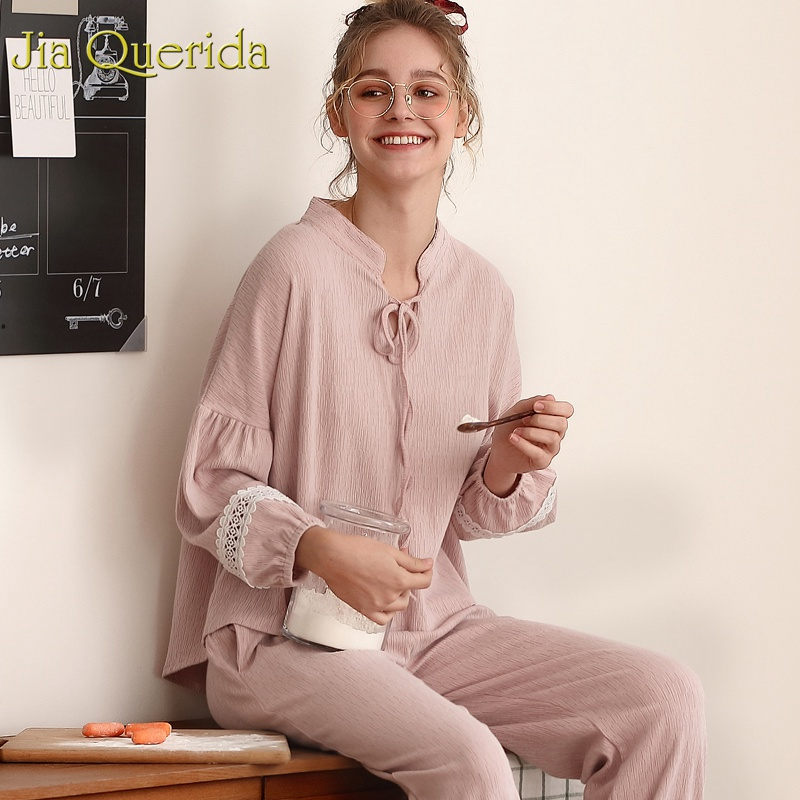 J Q Pijama Mujer Pink Solid Fashion Sleepwear Women 2019 Spring Belted Collar Lovely Female s