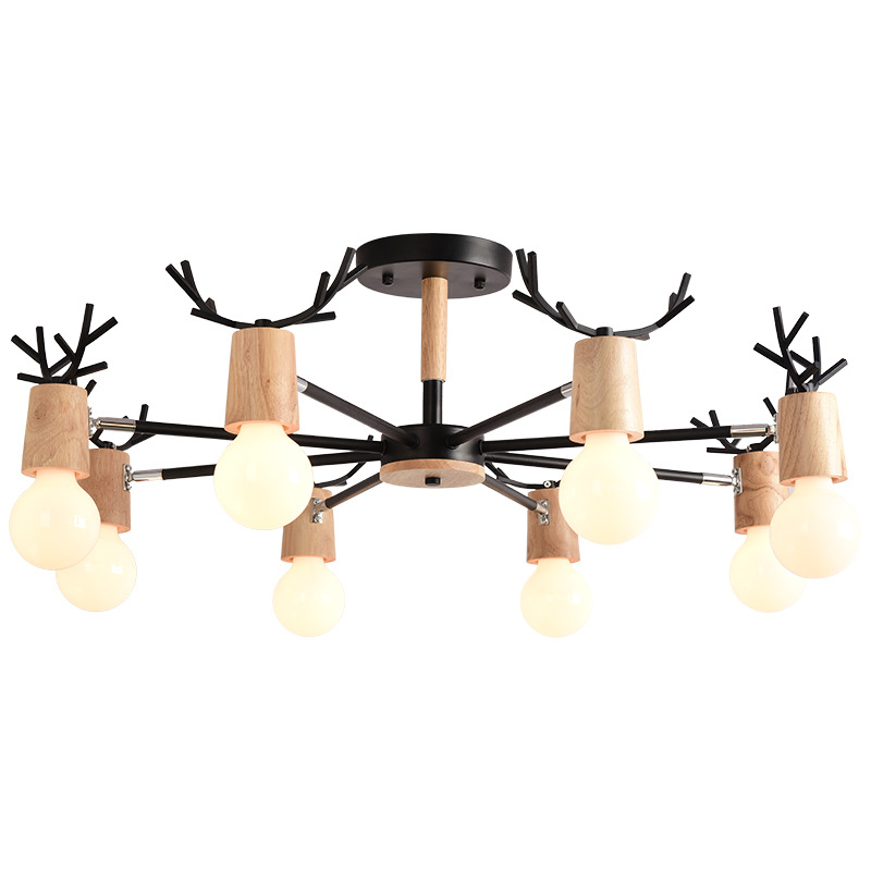 Novelty Nordic Led Chandelier Lighting Fixture Modern Indoor Wooden Lustres For Living Room Child Bedroom Dining Hanging Lamp