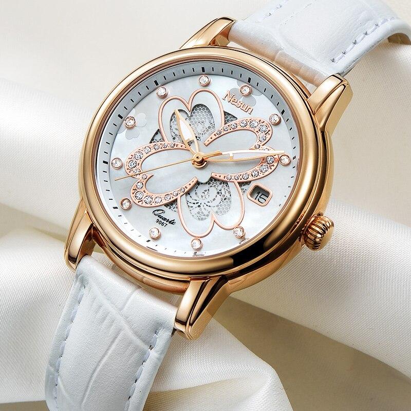 Saatler'ten Kadın Saatleri'de Nesun kadın Saatler İsviçre Lüks Marka quartz saat Kadınlar Safir Relogio Feminino Saat Elmas Saatı N9067 4'da  Grup 1