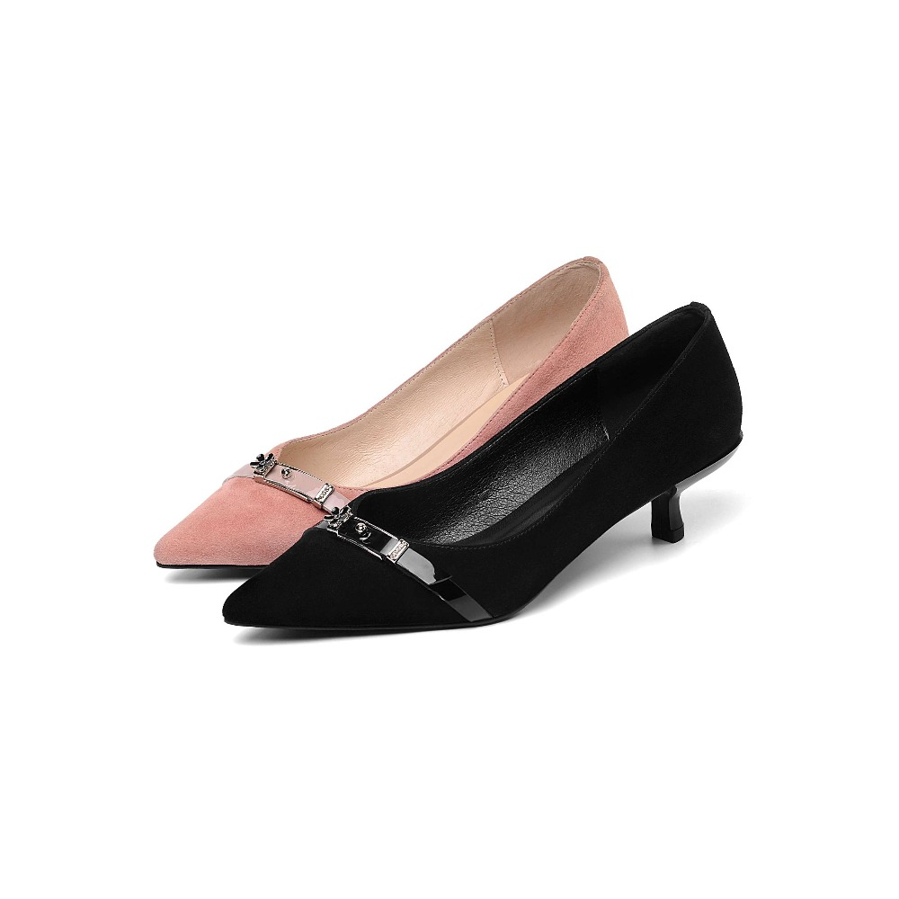 De Bombas Med Trabajo Zapatos Cuero Genuino Cómodo Mujer rosado Negro Caliente Oficina En Venta Vestido 2019 Básicos Estrellas Deslizamiento Tacones L10 Cine PwqzWxvnEU