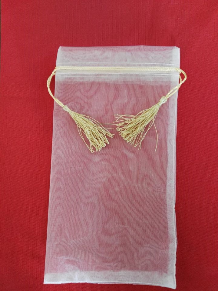 300pcs/lot High Quality Organza Cheap Drawstring Bag Fabric Jewelry Bag Wholesale 17*31.5cm Organza Gift Pouch With Tassels