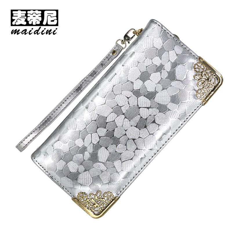 Silver Stone Pattern Long Clutch Wallets Women PU Leather Coin Purse Brand Female Card Holders Wallet Elegant Ladies Evening Bag women leather wallets v letter design long clutches coin purse card holder female fashion clutch wallet bolsos mujer brand