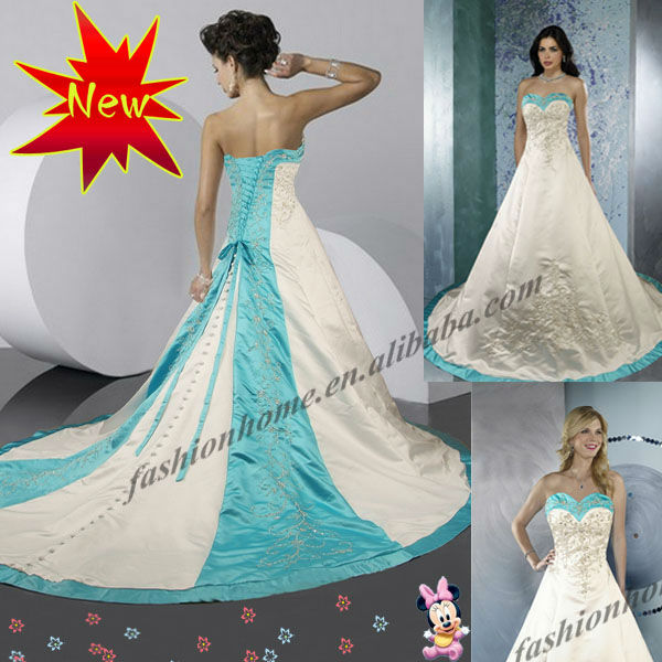 Free Shipping Chapel Train Embroidery Light Blue White Wedding Dresses Gown Ah1758