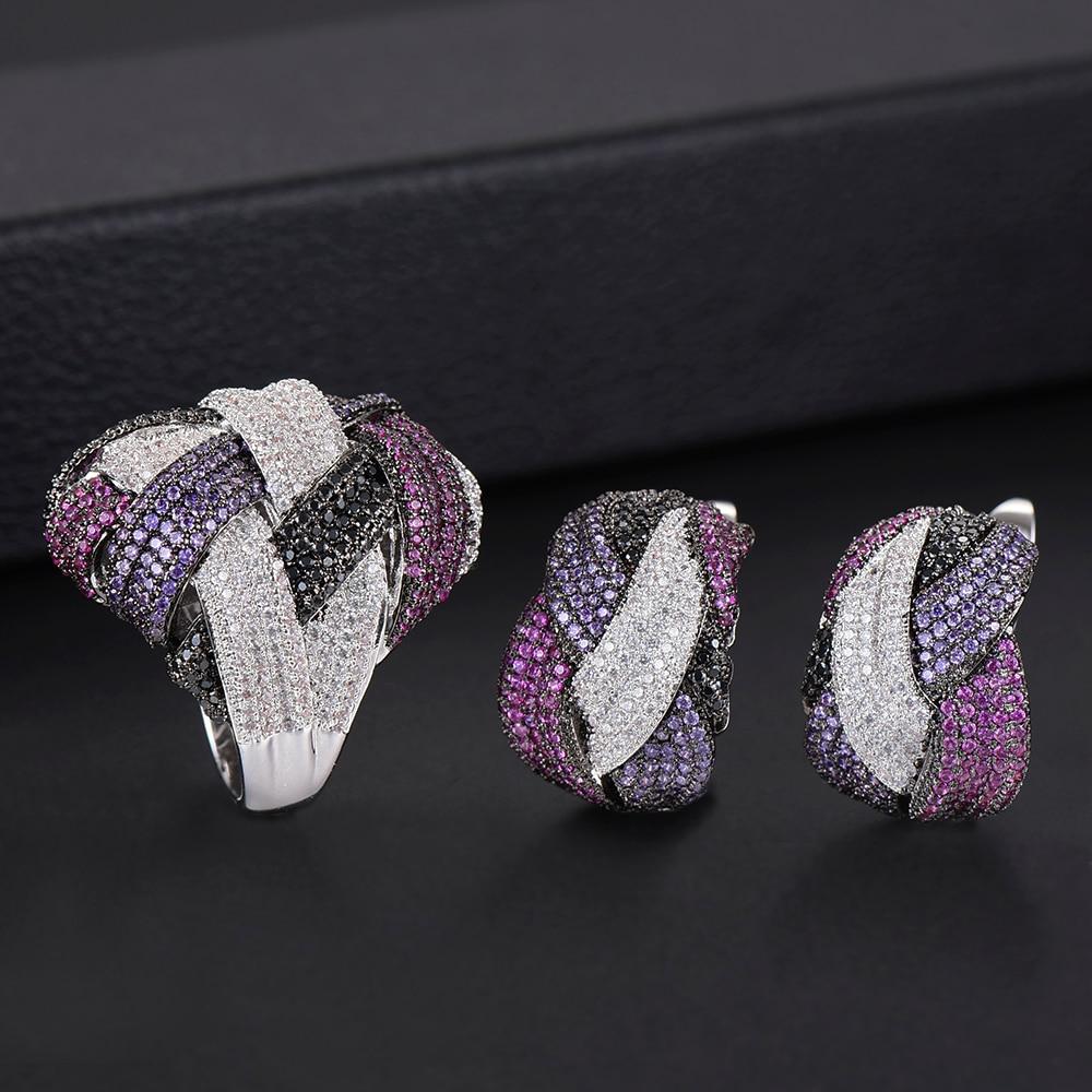 Dubai luxe tressé croix ligne boucles d'oreilles bague de doigt ensemble de bijoux cadeaux pour les femmes de mariage vêtements de fiançailles bijoux femme - 5