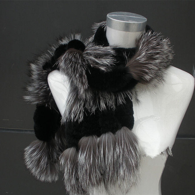 Handmade Women Fashion Rex Rabbit Fur with Silver Fox Fur Scarves Lady Winter Warm Wraps