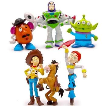 6 unids lote juguete figura Toy Story Woody Buzz Lightyear Jessie Alien  BullsEye Hamm Potato Head mini modelo animal muñeca niños l359 b6045b08fe0