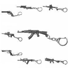 Classic Shooting Game Gun Keychain Submachine Machine Sniper Revolver AK 47 & M16 & Desert Eagle Charms Metal Key Chain Jewelry(China)