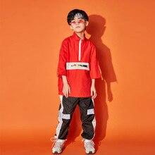 Детский костюм в стиле хип-хоп красные танцевальные топы, черные танцевальные штаны Одежда для мальчиков в стиле джаз детская одежда для выступлений на сцене BDY034