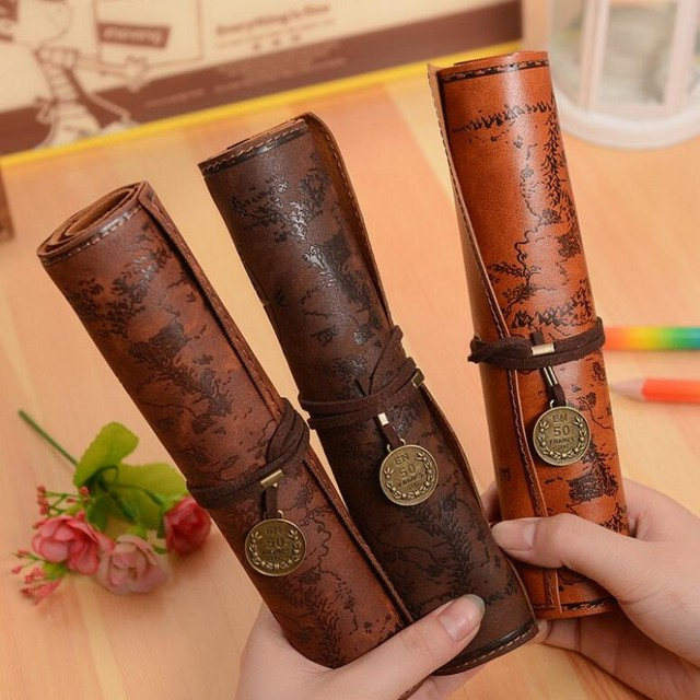 JUKUAI Creative Retro Treasure Map Pencil Cases Luxury Roll Leather PU Pen Bag Pouch For Stationery Supplies Cosmetic Bag 8001