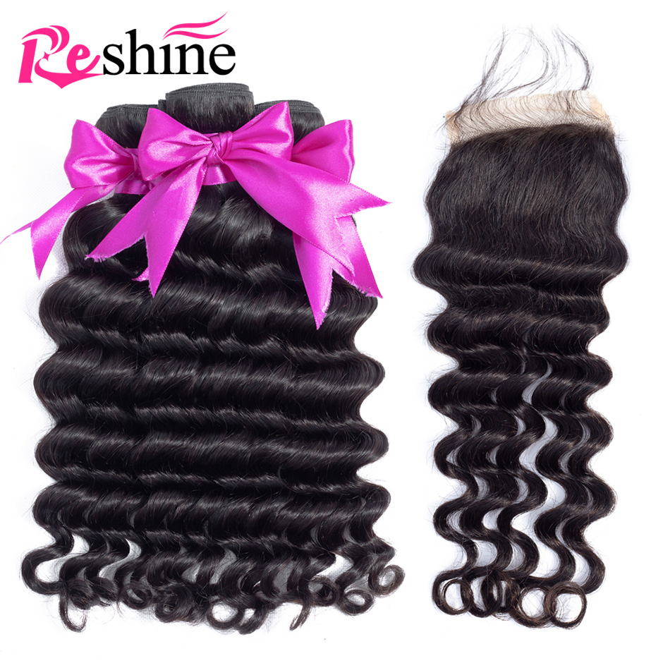 Reshine Malaysia Loose Deep Wave Bundles With Closure Human Hair Remy Hair With 4 4 Closure