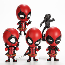 Disney Marvel Black Panther Deadpool Q Version Action Figure Movable Shaking Head Car Ornament 10cm Grandson Birthday Gift 10cm stranger things hopper brenner nancy action figure bobble head q edition no box for car decoration