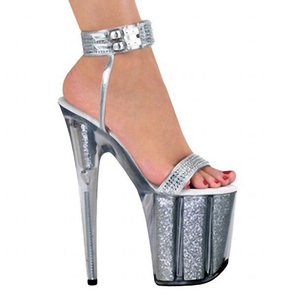 ФОТО 8 inch high heels silver bling bride wedding shoes platform crystal shoes 20cm Platform sexy shoes Exotic Dancer shoes