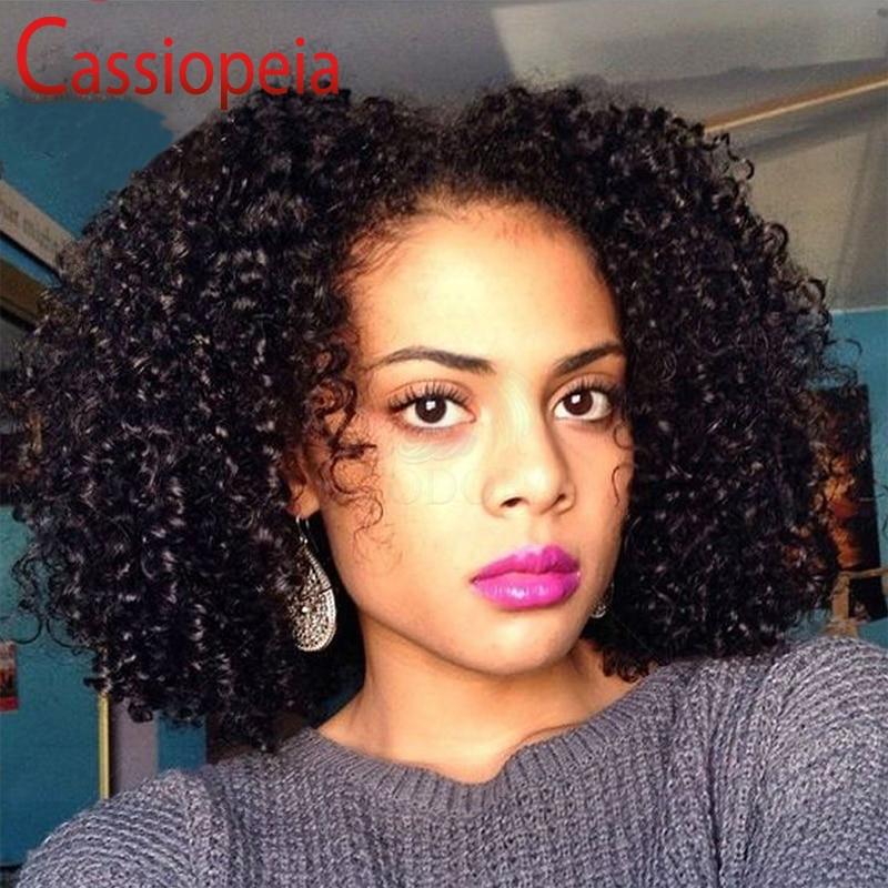 Short Kinky Curly Peruvian Virgin Human Hair U Part Wigs
