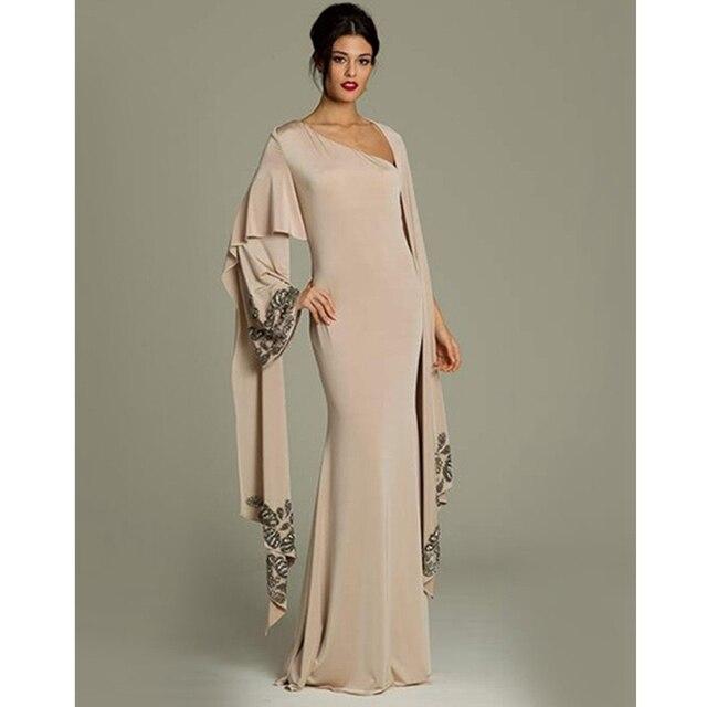 127867bf12dc3 2017 Müslüman Abiye Uzun Kollu Şampanya Şifon Başörtüsü İslam Dubai Abaya  Kaftan Uzun Abiye Elbise Parti