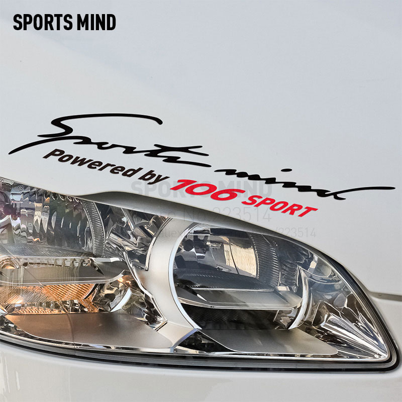 2 Pieces Sports Mind Car-Styling On Car Lamp Eyebrow automobiles Car Sticker Decal For Peugeot 106 car accessories