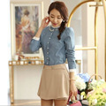 2016 color solid collar long-sleeved shirt Slim