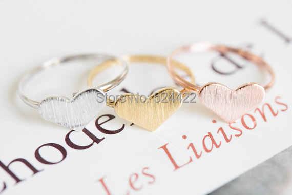 Min 1 pc Gold/Rose - Gold Love หัวใจแฟชั่นเครื่องประดับหัวใจรักแหวน JZ217