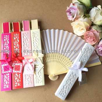 Free shipping 50Sets/Lot Elegant Silk folding Fan with Luxury Laser-Cut Gift Box + Thank you Card + Ribbon for wedding favor - DISCOUNT ITEM  0% OFF All Category