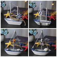 Mediterranean style decorative wooden boat model crafts small sailboat ornaments home decorations