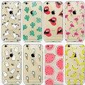Flamingo unicornio caso de tpu transparente para iphone 7 7 plus plátano fruta de cactus de labios de silicona suave cubierta para iphone 6 shell