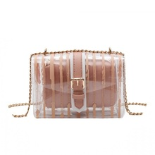2019 Striped Clear Transparent PVC Women Messenger Crossbody Bag Chains Candy Color Jelly Summer Beach Bag 2Pcs Women Handbag