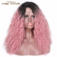 I's a wig 18 Inch Long Kinky Curly Ombre Pink Synthetic Lace Front Wig For Women Black Wigs Heat Resistant Fiber Hair Two Color