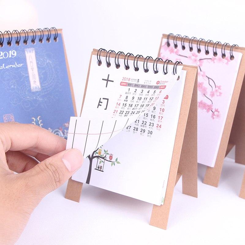 Calendar 1pc Cartoon Animal 2019 Calendar Desk Standing Paper Calendar Multifunction Schedule Planner Notebook