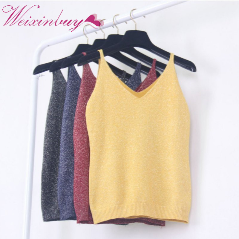 2018 Sexy Fashion Wanita Musim Panas Icecream Kamisol Bruiser Crop Top Berkilauan Merajut Rompi Top V-Neck Blus Kasual Tank ...