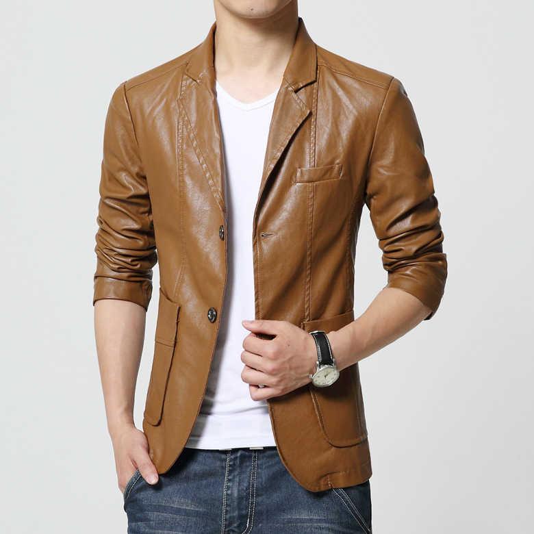 LONMMY M-6XL chaqueta de cuero de gamuza chaqueta de hombre chaqueta casual delgada chaqueta de hombre casacos chaquetas y abrigos de cuero para hombre nuevo 2019