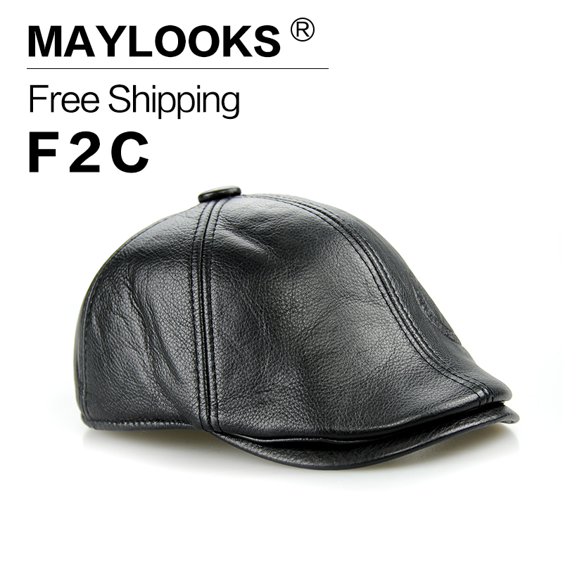 2018 New Rushed Adult Maylooks Genuine Leather Cap Beret Hat Fashion Hats For Snapback Caps With 2 Colors Solid For Summer Cs15 fashion sheepskin cadet for man genuine leather mens baret cowhide flat cap cabby hat vintage newsboy ivy driving cap