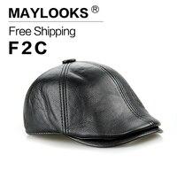 CS15 Genuine Leather Men Baseball Cap Hat Men S Real Skin Leather Adult Solid Adjustable Hats