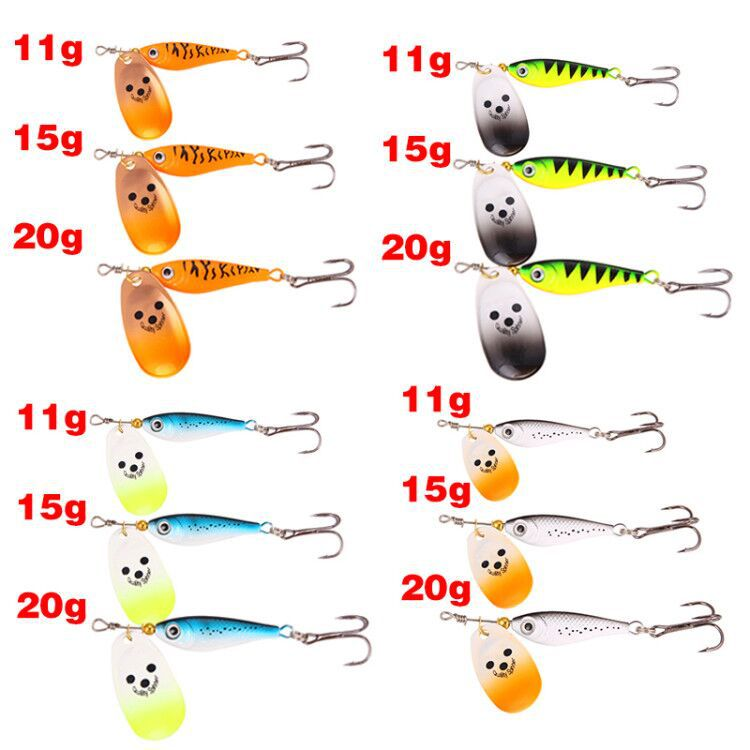 Free Shipping 11g 15g 20g Spinner Spoon Lure Hard Bait Sequins Bass Treble Hook Balancers For Winter Fishing Tackle Accessories in Fishing Lures from Sports Entertainment